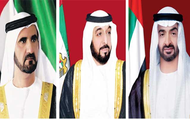 رئيس الدولة ونائبه ومحمد بن زايد والحكام يهنئون ملك المغرب