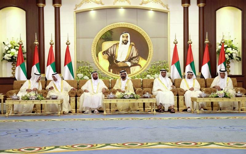 محمد بن راشد ومحمد بن زايد يستقبلان حكام الإمارات بمناسبة عيد الأضحى