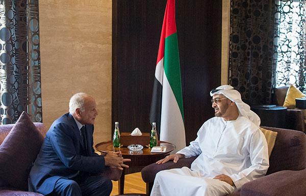 محمد بن زايد يستقبل  أمين عام الجامعة العربية