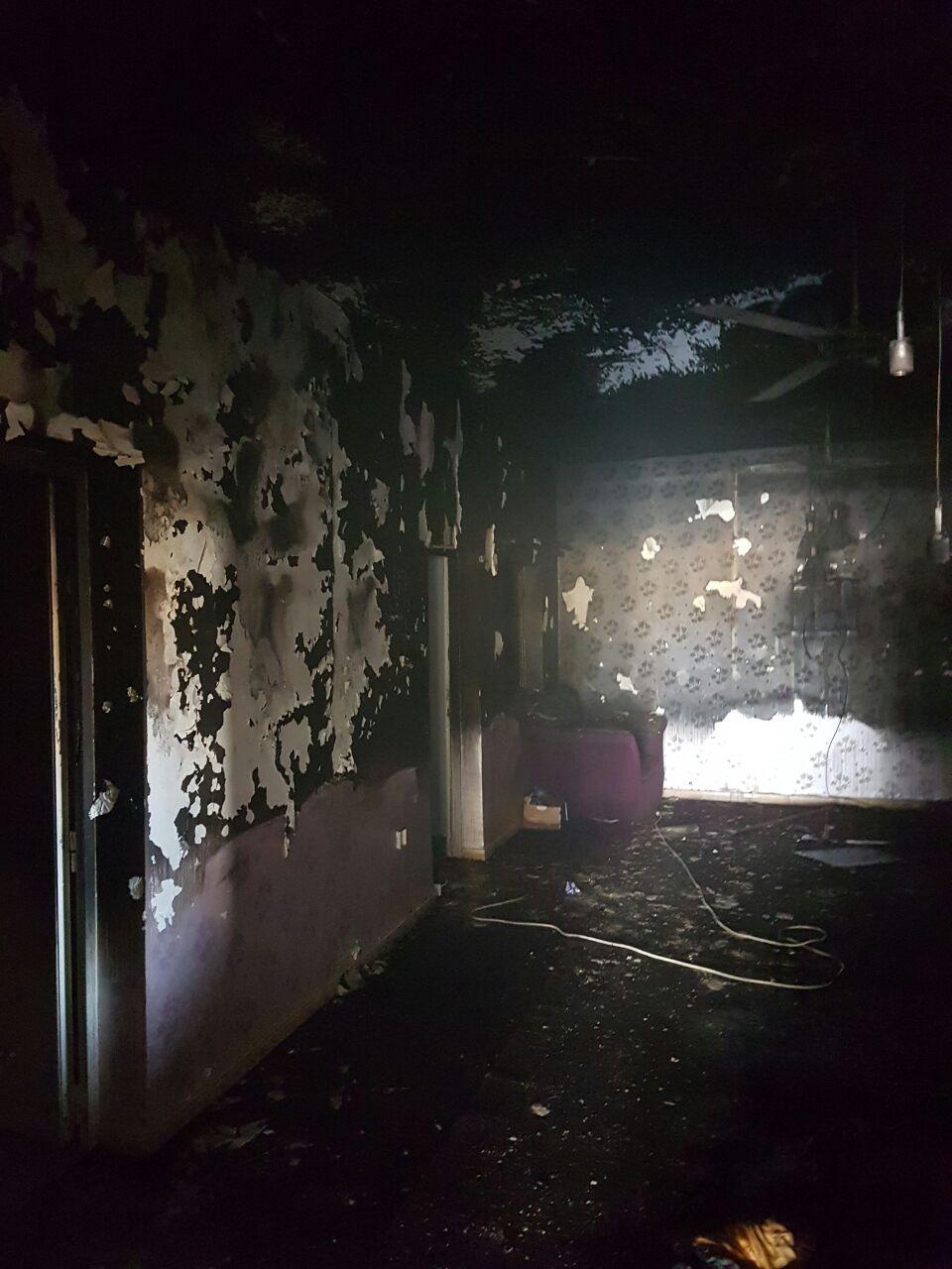 حريق هائل يقضي على منزل مواطن بقدفع