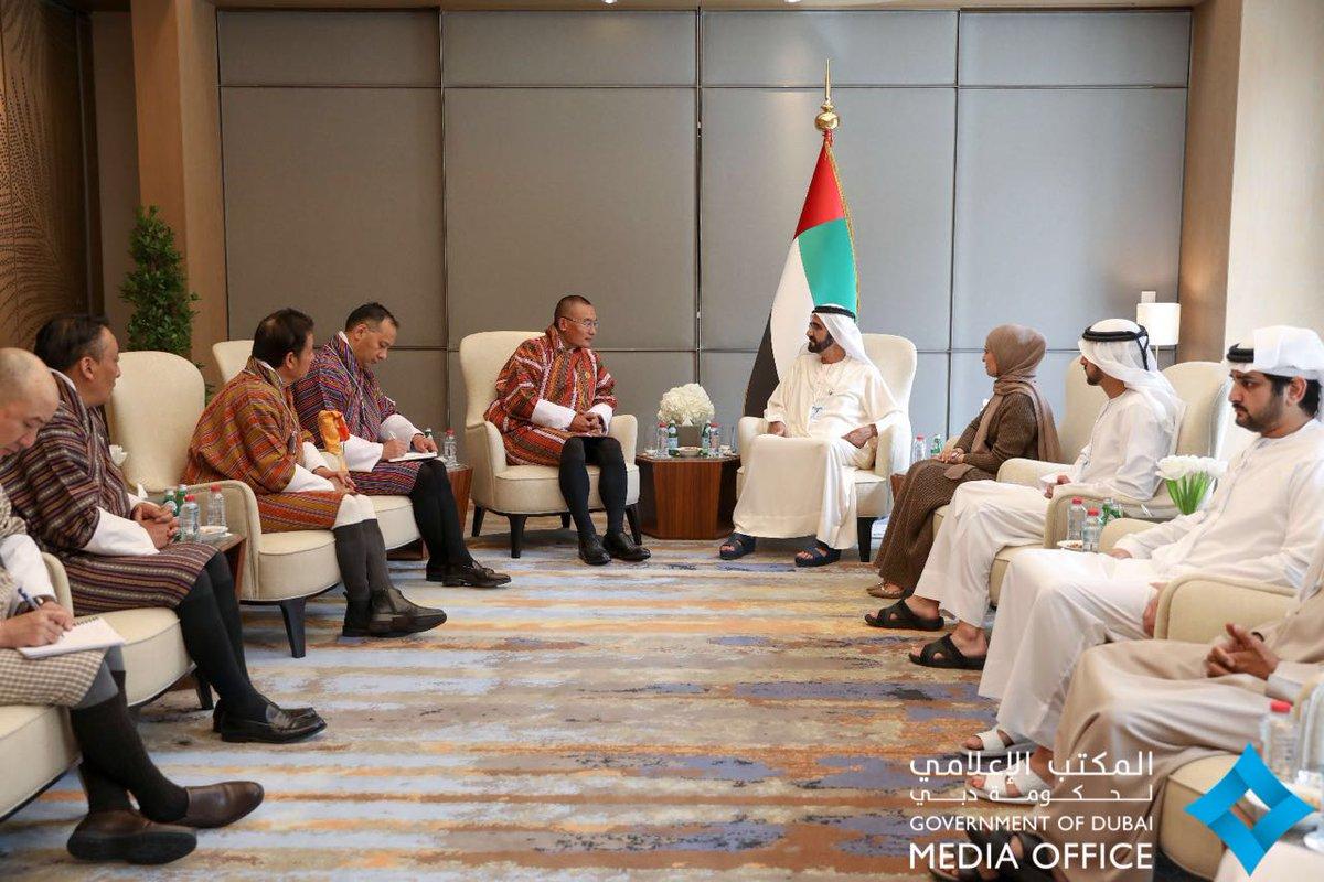 محمد بن راشد يستقبل رئيس وزراء مملكة بوتان ويشهد توقيع مذكرتي تفاهم بين البلدين