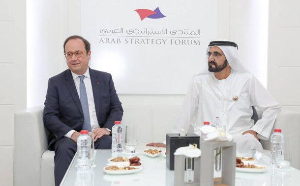محمد بن راشد يستقبل الرئيس الفرنسي السابق فرانسوا هولاند