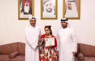 حاكم الفجيرة يستقبل الطفلة الفائزة بالمسابقة العالمية للحساب الذهني الياباني