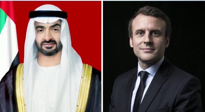 محمد بن زايد يتلقى اتصالاً هاتفياً من الرئيس الفرنسي