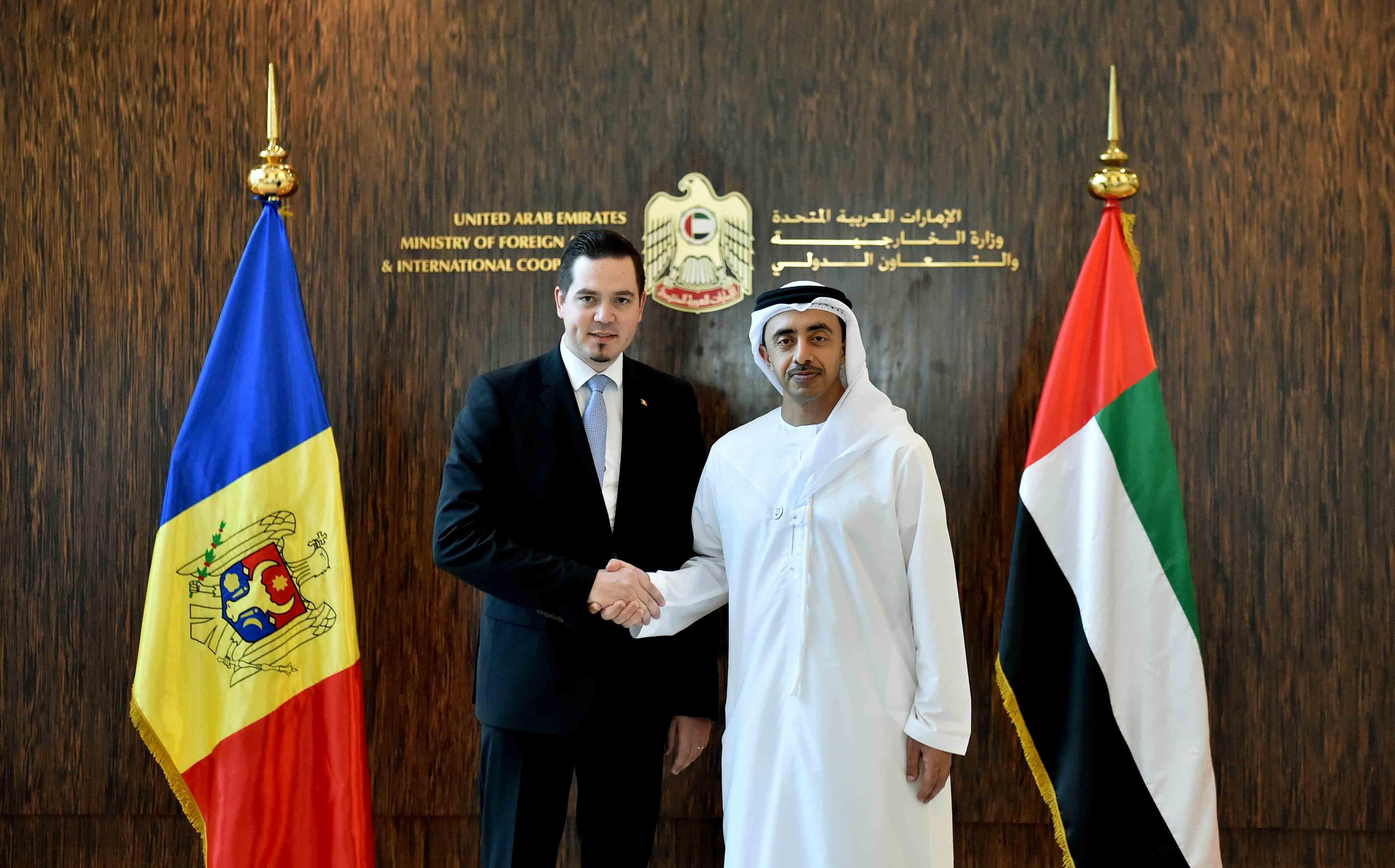 عبدالله بن زايد يستقبل وزير الخارجية والتكامل الأوروبي المولدوفي