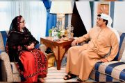 منصور بن زايد يستقبل وزيرة الإنتاج الحربي في باكستان