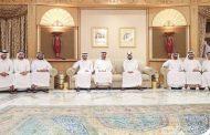 محمد بن زايد والشيوخ يقدمون واجب العزاء في وفاة الشيخ منصور بن أحمد بن علي آل ثاني